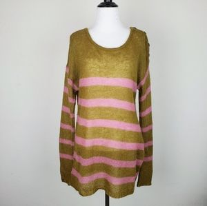 Ann Taylor Loft Mohair Green Pink Striped Sweater